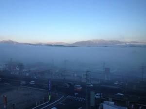 中津川の朝