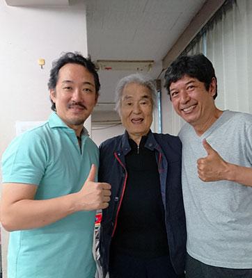 稽古場にて。柳瀬大輔さん、森田浩平さん